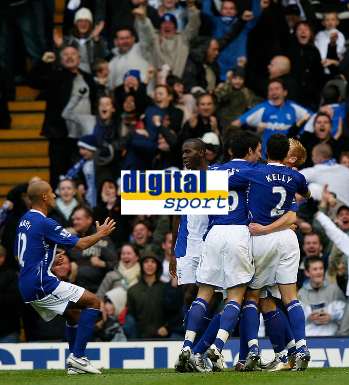 Photo: Steve Bond/Sportsbeat Images.<br /> Birmingham City v Aston Villa. The FA Barclays Premiership. 11/11/2007. Mikael Forssell (obscured) celebrates