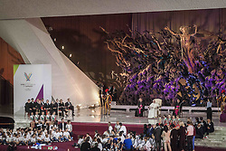 October 5, 2016 - Vatican City, Vatican - Pope Francis attends the International conference ''Sport at the Service of Humanity'', the first global conference on faith and sport promoted by the Vatican Pontifical Council for Culture, in the Paul VI hall in Vatican City, Vatican on October 05, 2016. (Credit Image: © Giuseppe Ciccia/Pacific Press via ZUMA Wire)
