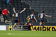 Rotherham Defender Kirk Broadfoot turns away after scoring the third goal during the Sky Bet Championship match between Milton Keynes Dons and Rotherham United at stadium:mk, Milton Keynes, England on 9 April 2016. Photo by Dennis Goodwin.