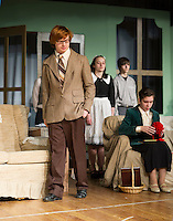 """John Hammond as Phillip Lombard and Zina LaBrie as Emily Caroline Brent  during dress rehearsal for Agatha Christie's """"And Then There Were None..."""" at Laconia High School Wednesday evening.  Karen Bobotas/for the Laconia Daily Sun)"""