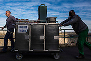 Prisoners transport food in special containers and bread crates from the main kitchen through the prison to a wing to be served.  HMP/YOI Portland, Dorset. © Prisonimage.org All image use must be agreed first. All images must be creditied.