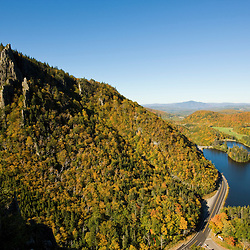 Lake Gloriette as seen from the cliffs above NH 26 in Dixville Notch, New Hampshire.