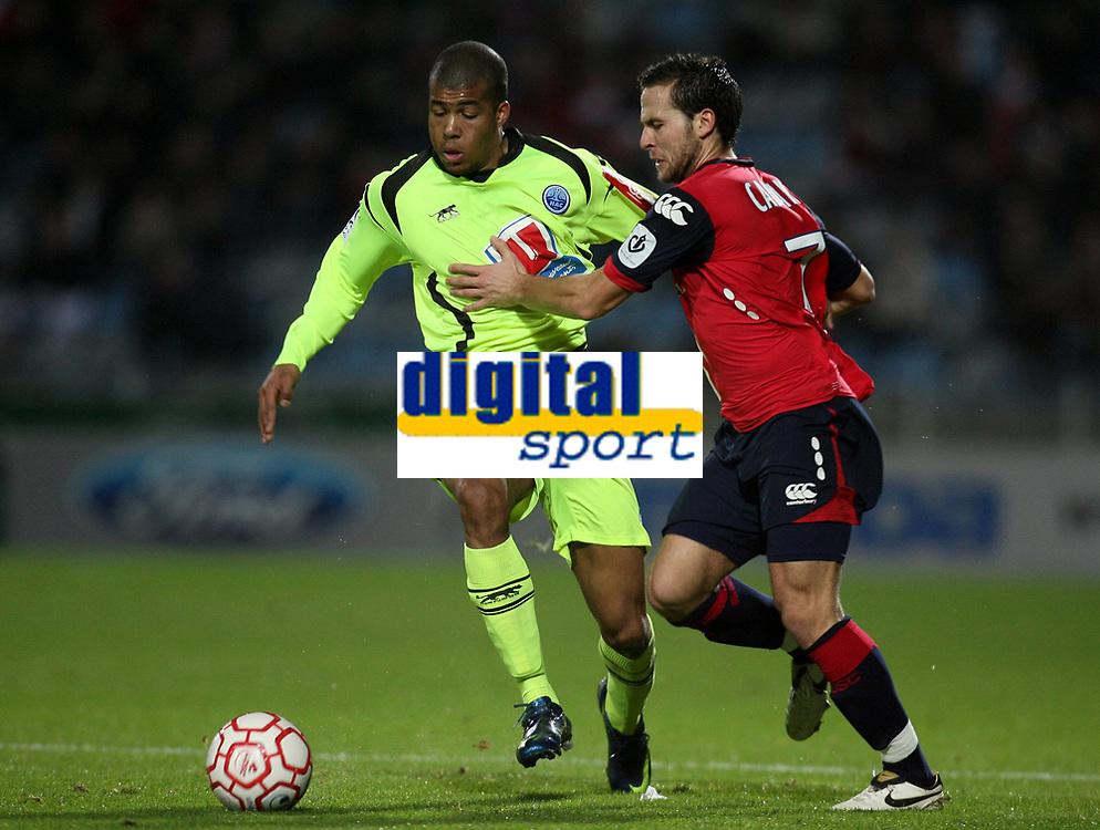 Fotball<br /> Frankrike<br /> Foto: DPPI/Digitalsport<br /> NORWAY ONLY<br /> <br /> FOOTBALL - FRENCH CHAMPIONSHIP 2008/2009 - L1 - LILLE OSC v LE HAVRE AC - 20/12/2008 - KEVIN ANIN (HAC) / YOHAN CABAYE (LOSC)