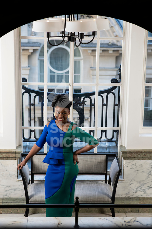 Nigerian writer of novels, short stories, and nonfiction, Chimamanda Ngozi Adichie pictured at a central London hotel.<br /> Picture by Daniel Hambury/@stellapicsltd 07813022858<br /> 19/04/2018