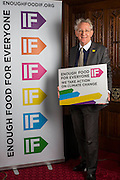 Andrew Stunell MP supporting the Enough Food for Everyone?IF campaign. .MP's and Peers attended the parliamentary launch of the IF campaign in the State Rooms of Speakers House, Palace of Westminster. London, UK.