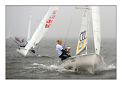 470 Class European Championships Largs - Day 1.Racing in grey and variable conditions on the Clyde..GER72, Annika BOCHMANN, Elisabeth PANUSCHKA, Verein Seglerhaus Am Wannsee