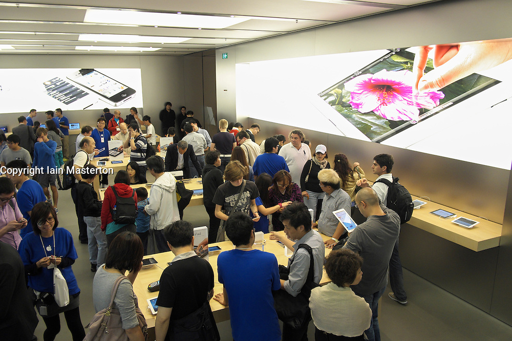 Interior view of busy  Apple store in Hong Kong