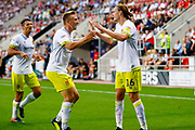 Hull City midfielder Jackson Irvine (16) scores a goal and celebrates to make the score 1-1 during the EFL Sky Bet Championship match between Rotherham United and Hull City at the AESSEAL New York Stadium, Rotherham, England on 21 August 2018.