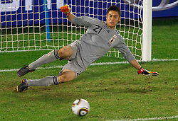 Goalkeeper of Japan Eiji Kawashima during the penalty shots after 0-0 in overtime during the 2010 FIFA World Cup South Africa Round of Sixteen football match between Paraguay and Japan on June 29, 2010 at Loftus Versfeld Stadium in Tshwane/Pretoria. (Photo by Vid Ponikvar / Sportida)