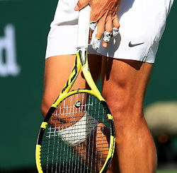 INDIAN WELLS, March 16, 2019  Photo taken on March 15, 2019 shows the bandages on Rafael Nadal's fingers and right knee during the men's singles quarterfinal match against Karen Khachanov of Russia at the BNP Paribas Open tennis tournament in Indian Wells, the United States, March 15, 2019. Nadal won 2-0 and advanced to the semifinal. (Credit Image: © Xinhua via ZUMA Wire)