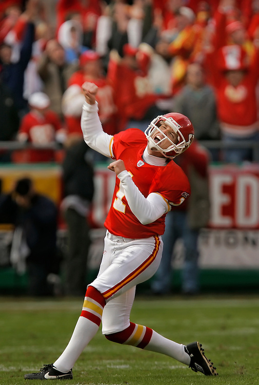 Kansas City Chiefs kicker Lawrence Tynes celebrated the game-winning 53-yard field goal in the final seconds of the fourth quarter against the San Diego Chargers on October 22, 2006 at Arrowhead Stadium. The Chiefs won 30-27 and the kick was Tynes' career-long field goal kick.