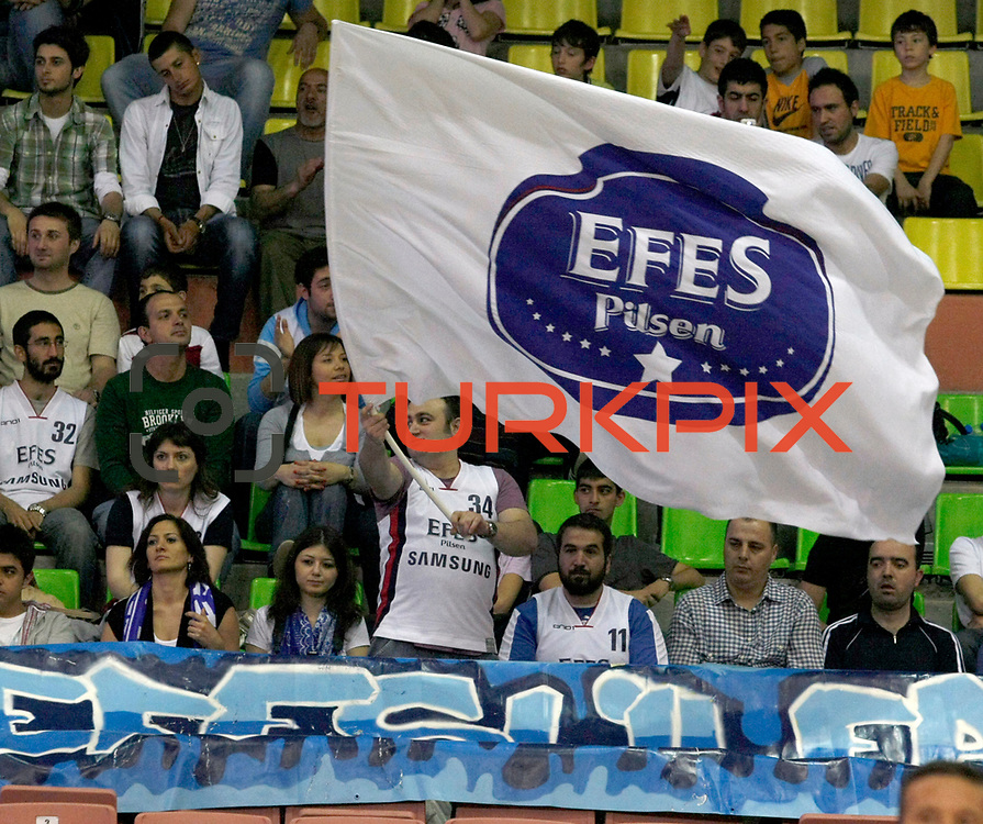 Efes Pilsen's supporters during their Turkish Basketball league Play Off semi final first match Efes Pilsen between Besiktas at the Ayhan Sahenk Arena in Istanbul Turkey on Sunday 09 May 2010. Photo by Aykut AKICI/TURKPIX
