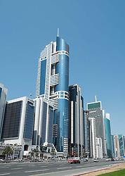 Modern skyscrapers along Sheikh Zayed Road in Dubai United Arab Emirates
