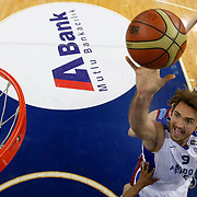Anadolu Efes's Semih Erden during their BEKO Basketball League match Anadolu Efes between Trabzonspor at Abdi Ipekci Arena in Istanbul Turkey on Sunday 23 February 2014. Photo by Aykut AKICI/TURKPIX