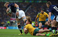 Australia's Michael Hooper trying to get Australia back into the game during the Rugby World Cup Quarter Final match between Australia and Scotland at Twickenham, Richmond, United Kingdom on 18 October 2015. Photo by Matthew Redman.