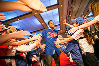 Starlin Castro of the Chicago Cubs being greeted by his fans.