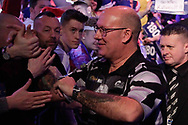 Kevin Burness meeting the fans at the walk-on during the PDC World Championship darts at Alexandra Palace, London, United Kingdom on 14 December 2018.