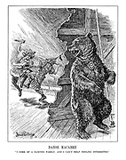 """Danse Macabre. """"I come of a dancing family, and I can't help feeling interested."""" (The Russian bear looks on happily at the entertainment of Japan and China fighting with swords on a stage)"""