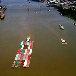 Shipping Traffic along the Mississippi River, outside of New Orleans louisiana