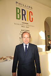 SIMON DE PURY  at the BRIC art sale preview (Brazil, Russia, India & China, the acronym BRIC here refers to the burgeoning contemporary art practices within these four countries.) organised by Phillips de Pury & Company at The Saatchi Gallery, London on 17th April 2010. *** Local Caption *** Image free to use for 1 year from image capture date as long as image is used in context with story the image was taken.  If in doubt contact us - info@donfeatures.com<br /> SIMON DE PURY  at the BRIC art sale preview (Brazil, Russia, India & China, the acronym BRIC here refers to the burgeoning contemporary art practices within these four countries.) organised by Phillips de Pury & Company at The Saatchi Gallery, London on 17th April 2010.