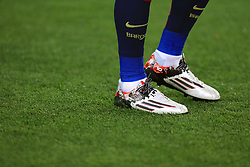 Detail of the boots of Barcelona's Lionel Messi