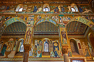 Medieval Byzantine style mosaics of the side aisle arches,  Palatine Chapel, Cappella Palatina, Palermo, Italy .<br /> <br /> If you prefer you can also buy from our ALAMY PHOTO LIBRARY  Collection visit : https://www.alamy.com/portfolio/paul-williams-funkystock/byzantine-art-antiquities.html . Type -    Palatine     - into the LOWER SEARCH WITHIN GALLERY box. Refine search by adding background colour, place, museum etc<br /> <br /> Visit our BYZANTINE MOSAIC PHOTO COLLECTION for more   photos  to download or buy as prints https://funkystock.photoshelter.com/gallery-collection/Roman-Byzantine-Art-Artefacts-Antiquities-Historic-Sites-Pictures-Images-of/C0000lW_87AclrOk