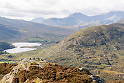 Seen from the east at Capel Curig is a view of the 1,085 metres above sea level peak, Snowdon, the highest point in the British Isles outside the Scottish Highlands, on 6th October 2021, in Capel Curig, Snowdonia National Park, Wales.