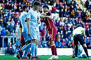 \Bradford City defender Nat Knight-Percival (22) has a few words for Sunderland defender Tom Flanagan (12)  during the EFL Sky Bet League 1 match between Bradford City and Sunderland at the Northern Commercials Stadium, Bradford, England on 6 October 2018.
