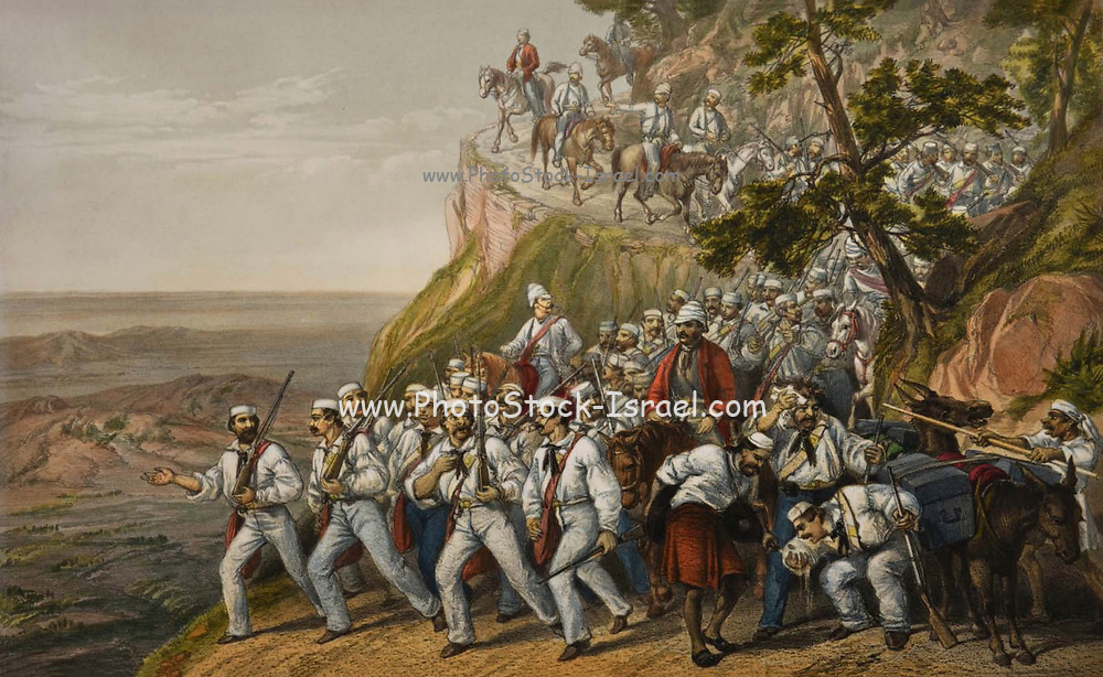 The First Bengal Fusiliers Marching down from Dugshal. Lithograph from the book Campaign in India 1857-58 Illustrating the military operations before Delhi ; 26 Hand coloured Lithographed plates. by George Francklin Atkinson Published by Day & Son Lithographers to the Queen in 1859