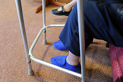 The feet of a woman in a care home, Bradford, West Yorkshire
