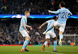Manchester City's Bernardo Silva (right), Raheem Sterling and Kevin De Bruyne celebrate after Gabriel Jesus (not in frame) scores their sides first goal of the game