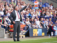 Sheffield United manager Chris Wilder shouts instructions to his team from the dug-out<br /> <br /> Photographer Rich Linley/CameraSport<br /> <br /> Football - The EFL Sky Bet League One - Bolton Wanderers v Sheffield United - Saturday 6th August 2016 - Macron Stadium - Bolton<br /> <br /> World Copyright © 2016 CameraSport. All rights reserved. 43 Linden Ave. Countesthorpe. Leicester. England. LE8 5PG - Tel: +44 (0) 116 277 4147 - admin@camerasport.com - www.camerasport.com