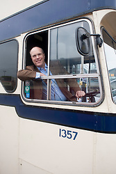 """""""Next Stop"""" Olive Grove Bus bus depot open day on Saturday, Giels Fearnley First's Managing Director UK Bus behind the wheel of a Leyland Atlantian which saw service in Sheffield during the 1960's and 70's..12 May 2013.Image © Paul David Drabble"""