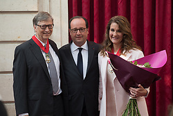 Bill Gates and his wife Melinda announce their divorce. The billionaire co-founder of Microsoft, and his wife, who reside in Washington State, are to divorce after twenty-seven years of marriage, and twenty years of working together in their foundation - File - Microsoft co-founder Bill Gates and Melinda Gates receive the Commander of the Legion of Honor title from French President Francois Hollande awards at the Elysee Palace in Paris on April 21, 2017. French President Francois Hollande awarded Bill and Melinda Gates the Commander of the Legion of Honour title for their philanthropic activities, notably the Microsoft foundation efforts to improve public health and encourage development in poor Countries. Photo by Villard/Pool/ABACAPRESS.COM