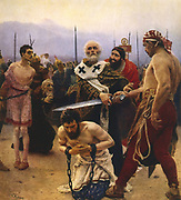 St Nicholas of Myra (300-399) Christian prelate.  Imprisoned by Diocletian and released by Constantine, here saving three innocent men from execution. Santa Claus. Painting by Ilia Repine (1844-1930) 1888. Russian Museum, St Petersburg.
