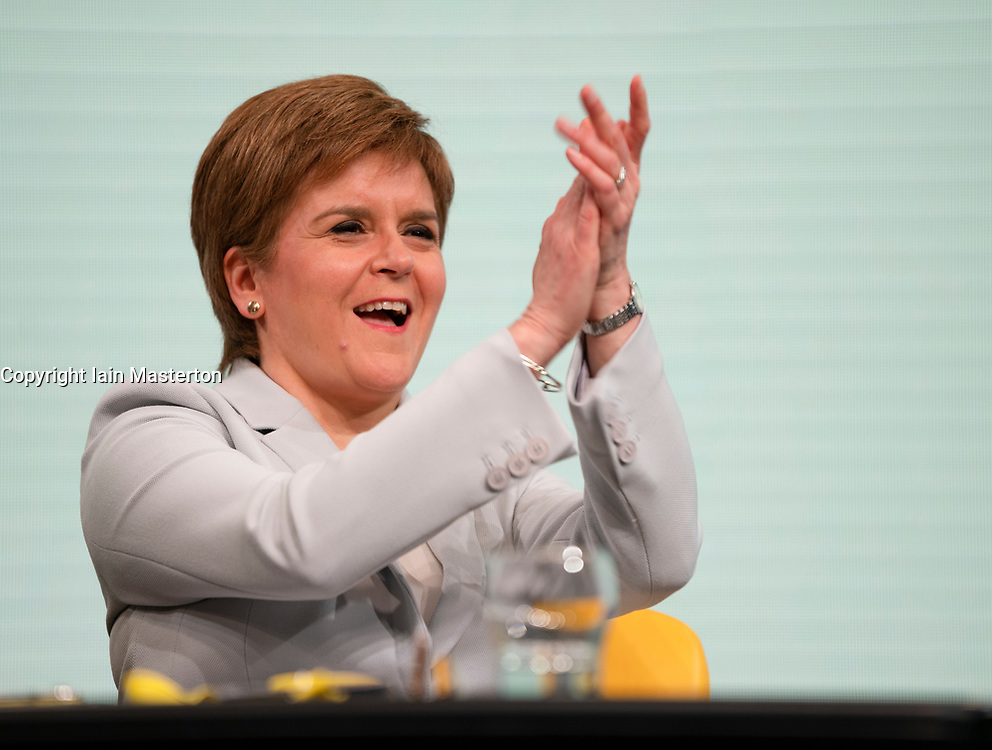 Edinburgh, Scotland, UK. 27 April, 2019. SNP ( Scottish National Party) Spring Conference takes place at the EICC ( Edinburgh International Conference Centre) in Edinburgh. Pictured;First Minister Nicola Sturgeon reacts during first day of conference.