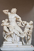 Italy, Rome, Interior of The Vatican Museum. The Laocoon. The 1st century AD marble statue