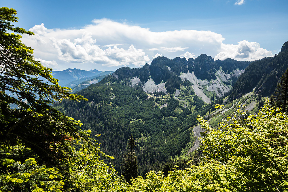 Mountains above Interstate 90 through the central Cascade mountains just East of McClellan Butte, Washington, USA