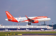 "EasyJet Europe, Airbus A320-214 (OE-IVA) painted in ""Austria"" special colours at Malpensa (MXP / LIMC), Milan, Italy"