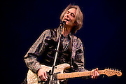 """Lenny Kaye at the 2008 New York Guitar Festival on Saturday 1/12/2008 at the World Financial Center Winter Garden in lower Manhattan. The opening night concert of the festival was titled the """"Royal Albert Hall"""" Project a tribute to Bob Dylan's early 'electric' concerts in England in 1966. Mr. Kaye, long-time guitarist with the Patti Smith Band, performed 'One Too Many Mornings'."""