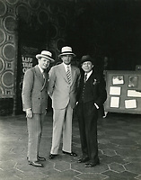 1927 (L to R) Henry Duffy, Charles E Toberman, and Sid Grauman in front of the El Capitan Theater on Hollywood Blvd.