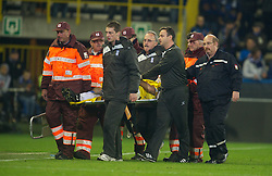 20.10.2011, Jan-Breydel Stadion, Bruegge, BEL, UEFA EL, Gruppe H, FC Bruegge (BEL) vs Birmingham City (ENG), im Bild  Birmingham City's Pablo Ibanez is carried off the pitch in a neck brace after being knocked unconscious during the UEFA Europa League Group H match against Club Brugge at the Jan Breydelstadion.  // during UEFA Europa League group H match between FC Bruegge (BEL) vs Birmingham City (ENG), at Jan-Breydel Stadium, Brugge, Belgium on 20/10/2011. EXPA Pictures © 2011, PhotoCredit: EXPA/ Propaganda Photo/ David Rawcliff +++++ ATTENTION - OUT OF ENGLAND/GBR+++++