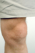 close up of knee of Caucasian man