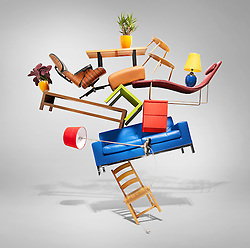 """""""Do furniture sales stack up?"""" - a question posed by Which? Magazine.<br /> Project commissioned by Peter Lawson, Senior Picture Editor at Which?. <br /> Balancing pieces of furniture to illustrate marketing strategy of sales. Lots of fun suspending the pieces of furniture in the air."""
