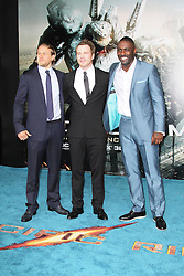 @ London News PIctures. Charlie Hunnam; Robert Kazinsky; Idris Elba at  Pacific Rim European Film Premiere, BFI IMAX Waterloo, London UK, 04 July 2013. Photo by Richard Goldschmidt/LNP