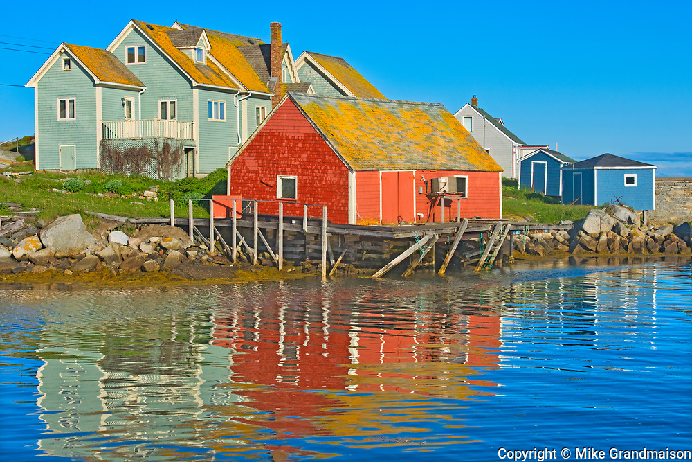 Reflection in fishing village of Peggy's Cove, Peggy's Cove, Nova Scotia, Canada