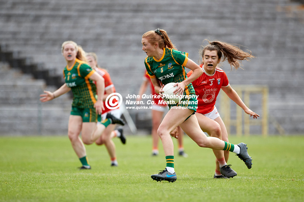 01-08-21, All Ireland Ladies SFC quarterfinal at Clones<br /> Meath v Armagh<br /> Aoibheann Leahy (Meath) and Clodagh McCambridge (Armagh)<br /> Photo: David Mullen / www.quirke.ie ©John Quirke Photography, Proudstown Road Navan. Co. Meath. 046-9079044 / 087-2579454.<br /> ISO: 400; Shutter: 1/1250; Aperture: 5;