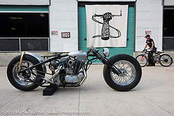 Frankie Bowman  with his Iron Panther Bowman Motorcycles (St. Petersburg, FL) custom Harley-Davidson Ironhead Sportster on Sunday after the Handbuilt Motorcycle Show. Austin, TX. April 12, 2015.  Photography ©2015 Michael Lichter.
