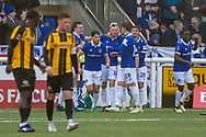 Oldham Athletic defender Peter Clarke (26) scores a goal (0-1) and celebrates with team mates during the The FA Cup match between Maidstone United and Oldham Athletic at the Gallagher Stadium, Maidstone, United Kingdom on 1 December 2018. Photo by Martin Cole
