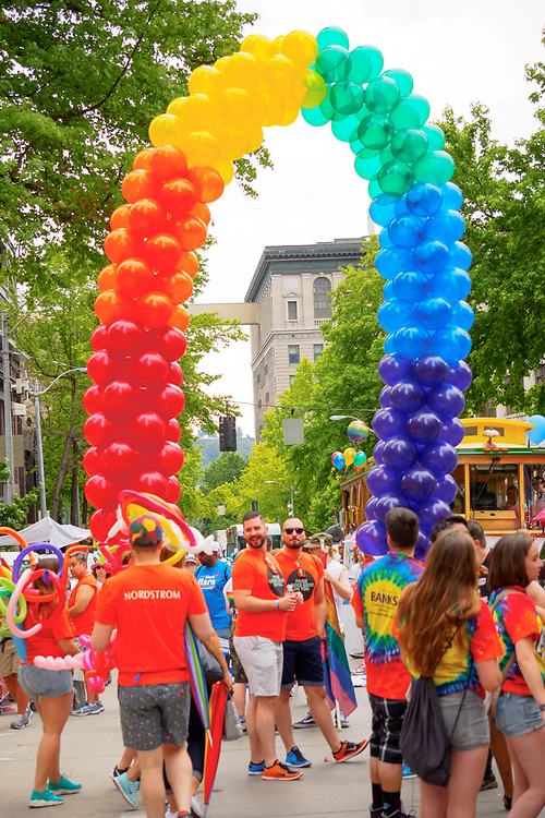 United States, Washington, Seattle Gay Pride Parade, June 28th, 2015. Rainbow balloon arch.